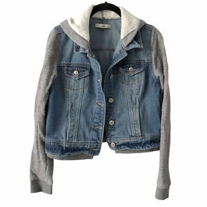 Dex Light Wash Jean Jacket with Knit Sleeves XS
